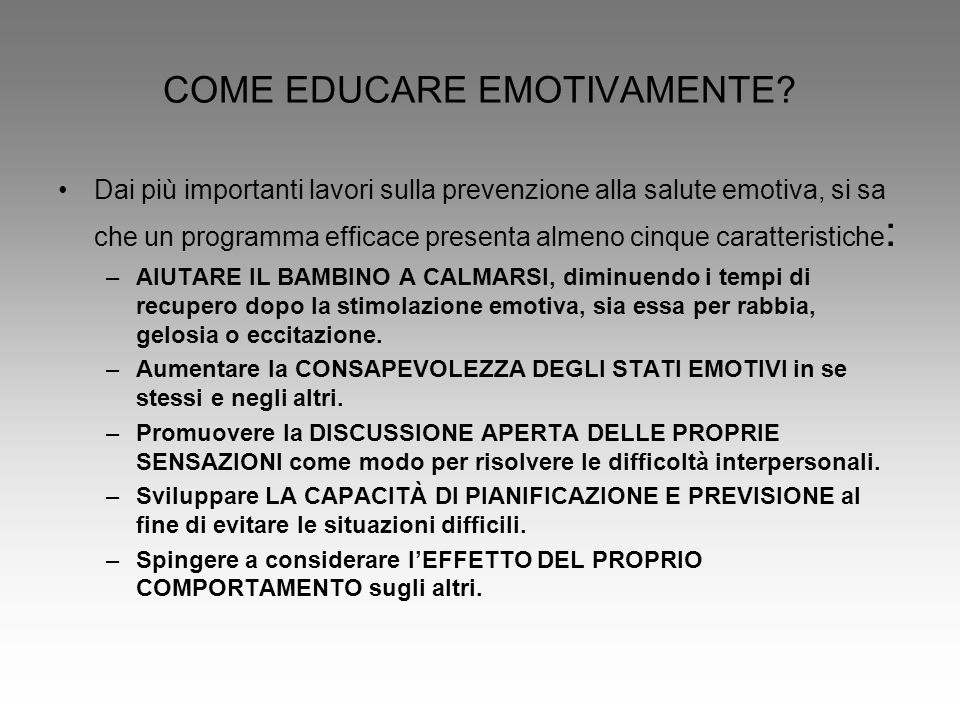COME EDUCARE EMOTIVAMENTE