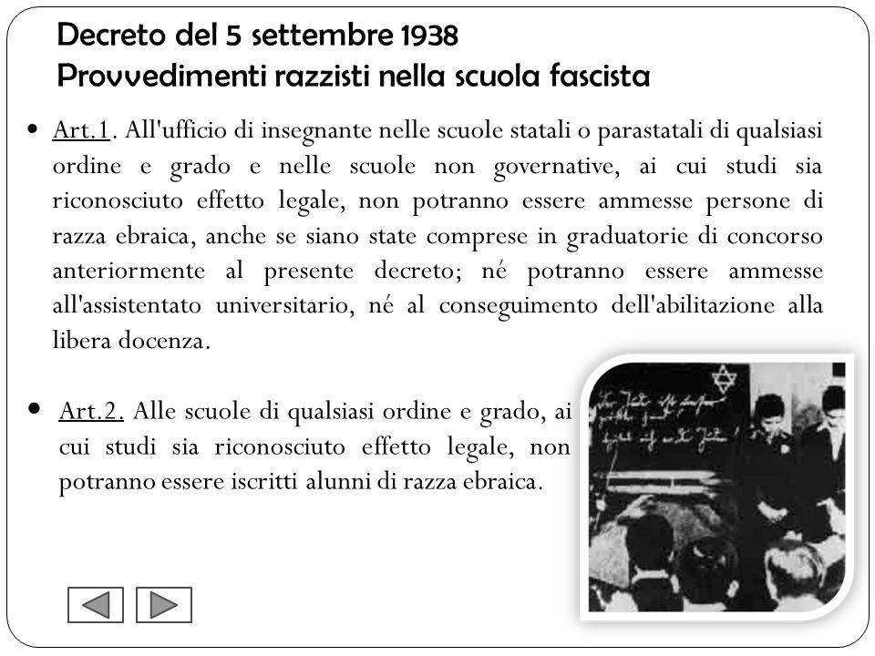 Decreto del 5 settembre 1938 Provvedimenti razzisti nella scuola fascista