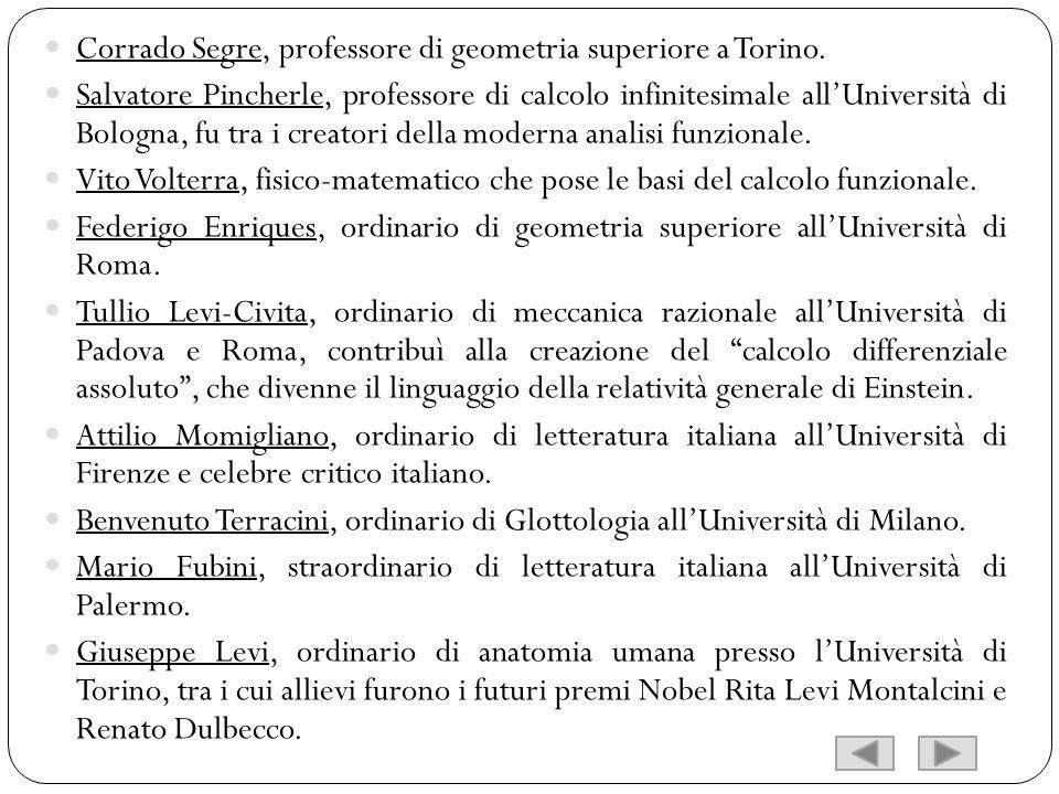 Corrado Segre, professore di geometria superiore a Torino.