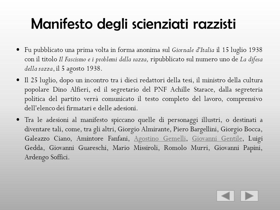 Manifesto degli scienziati razzisti