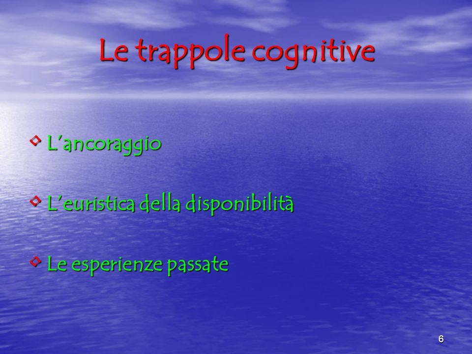 Le trappole cognitive L'ancoraggio L'euristica della disponibilità