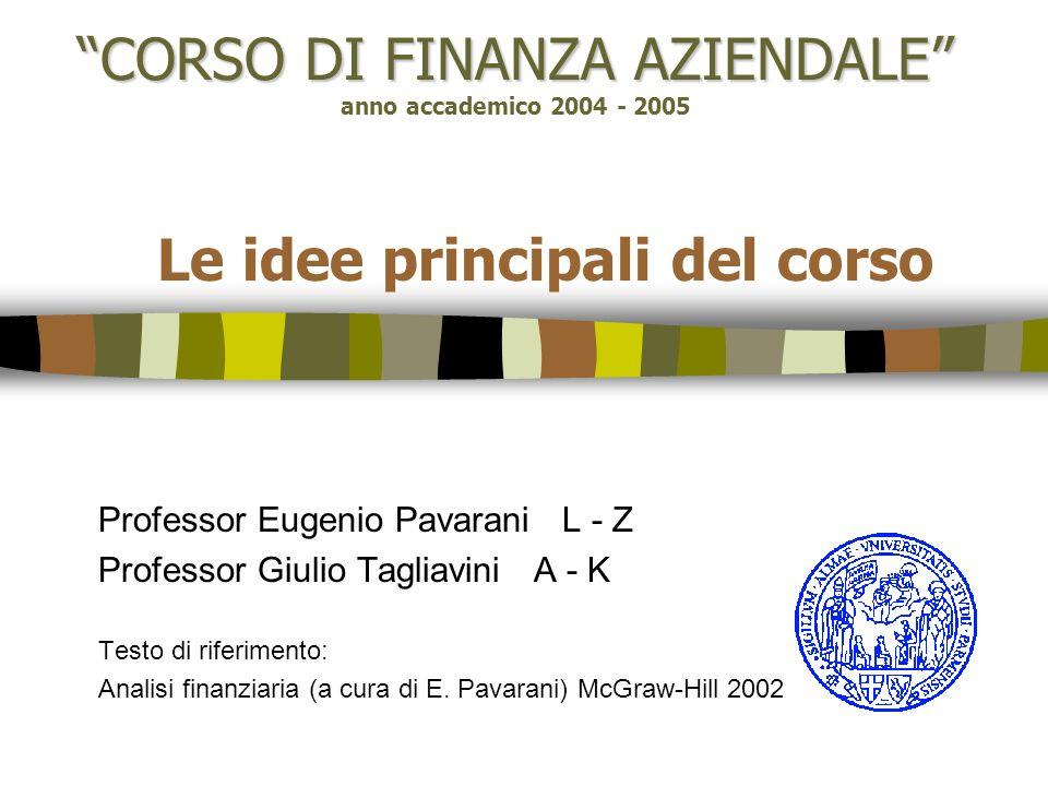 CORSO DI FINANZA AZIENDALE anno accademico 2004 - 2005
