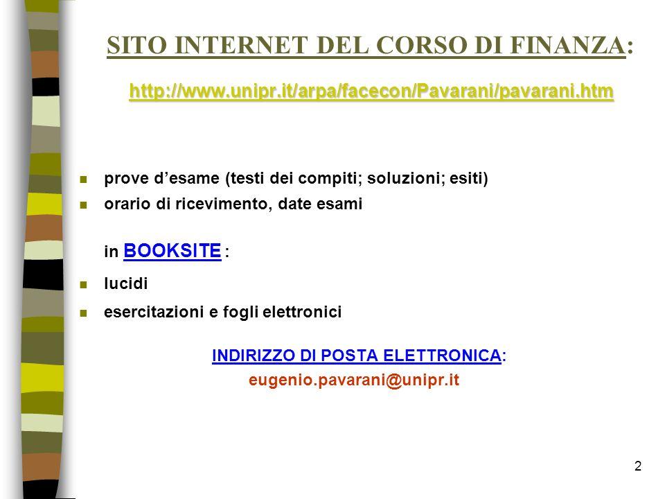 SITO INTERNET DEL CORSO DI FINANZA: http://www. unipr