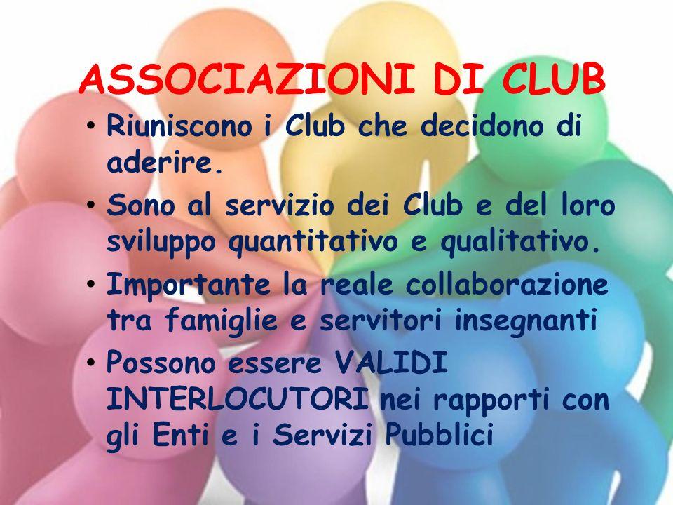 ASSOCIAZIONI DI CLUB Riuniscono i Club che decidono di aderire.