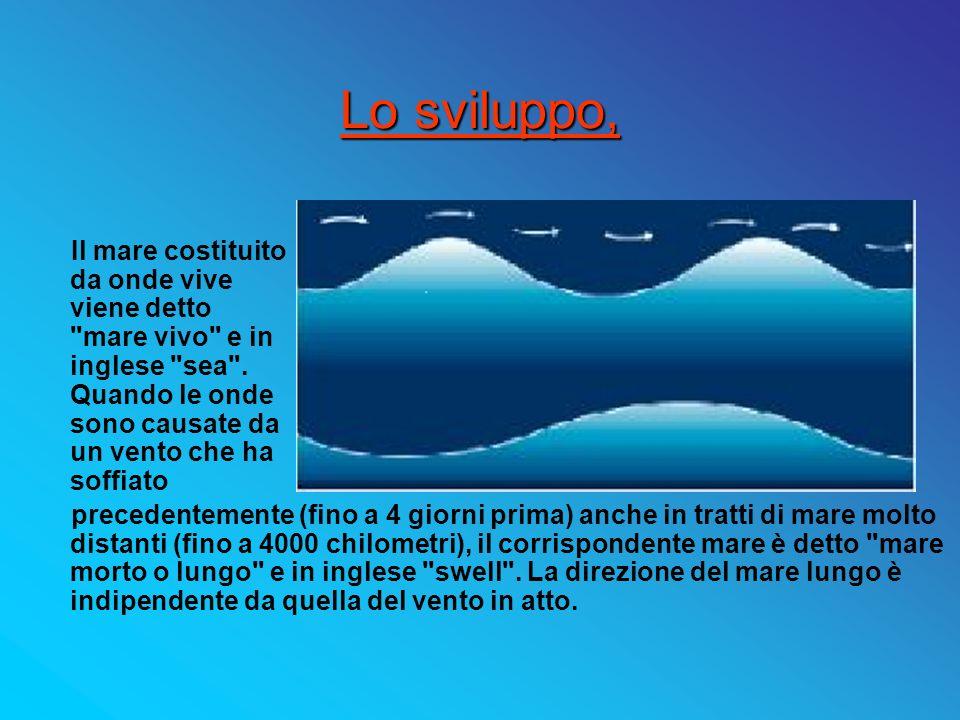 Lo sviluppo, Il mare costituito da onde vive viene detto mare vivo e in inglese sea . Quando le onde sono causate da un vento che ha soffiato.