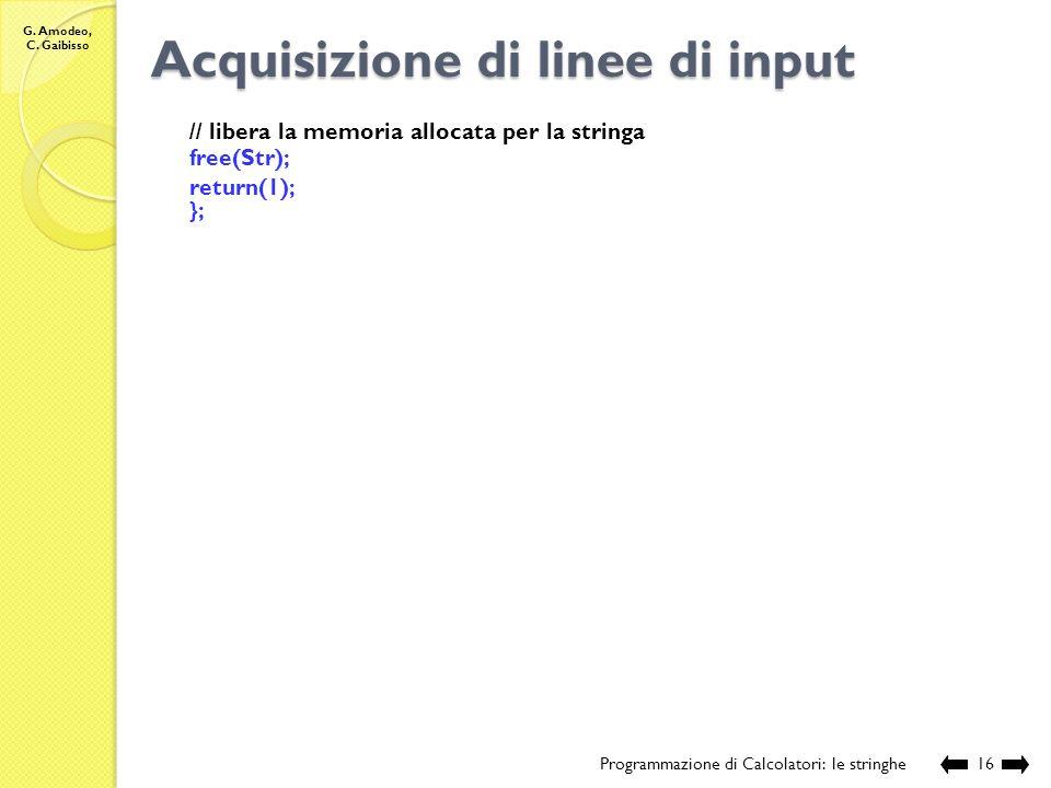 Acquisizione di linee di input