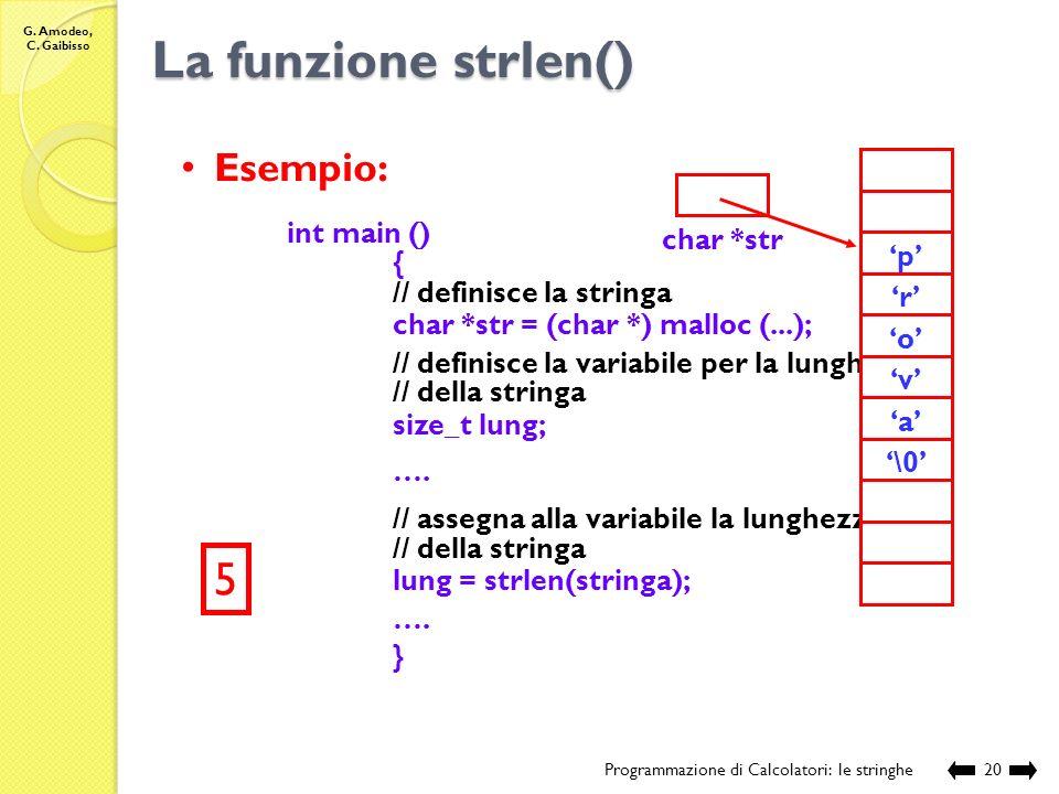 La funzione strlen() 5 Esempio: int main () { // definisce la stringa