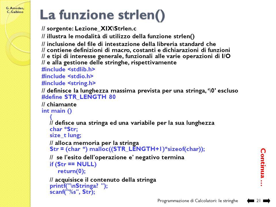 La funzione strlen() Continua … // sorgente: Lezione_XIX\Strlen.c