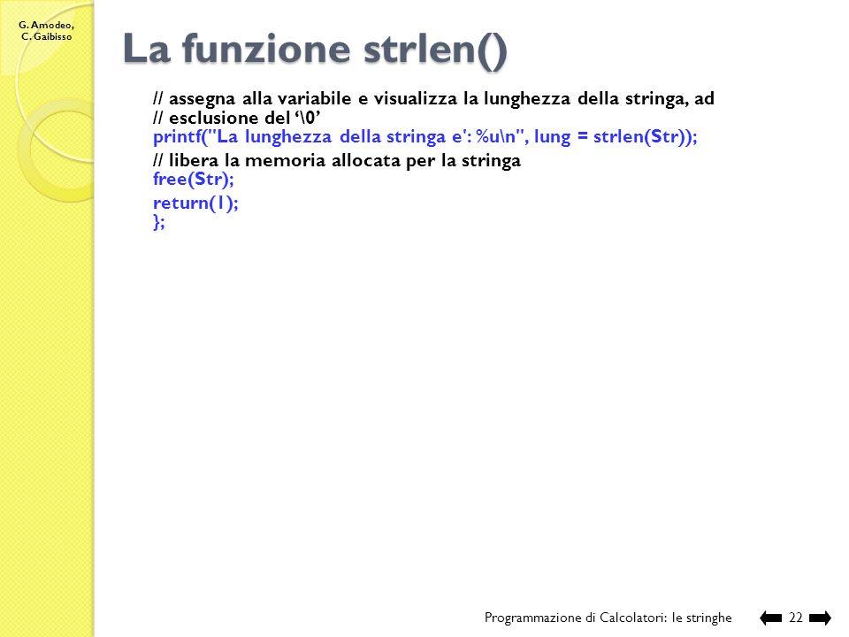 La funzione strlen() // assegna alla variabile e visualizza la lunghezza della stringa, ad. // esclusione del '\0'