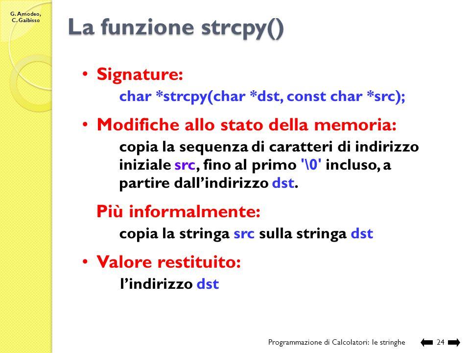 La funzione strcpy() Signature: Modifiche allo stato della memoria: