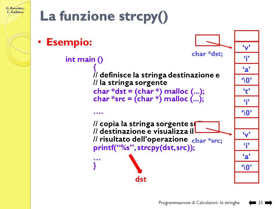 La funzione strcpy() Esempio: 'r' 'o' 'n' 't' 'i' '\0' 'v' 'a' 'p'