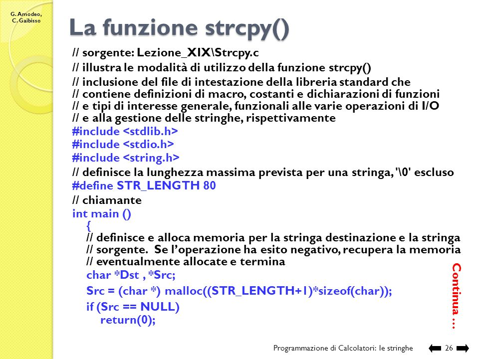 La funzione strcpy() // sorgente: Lezione_XIX\Strcpy.c