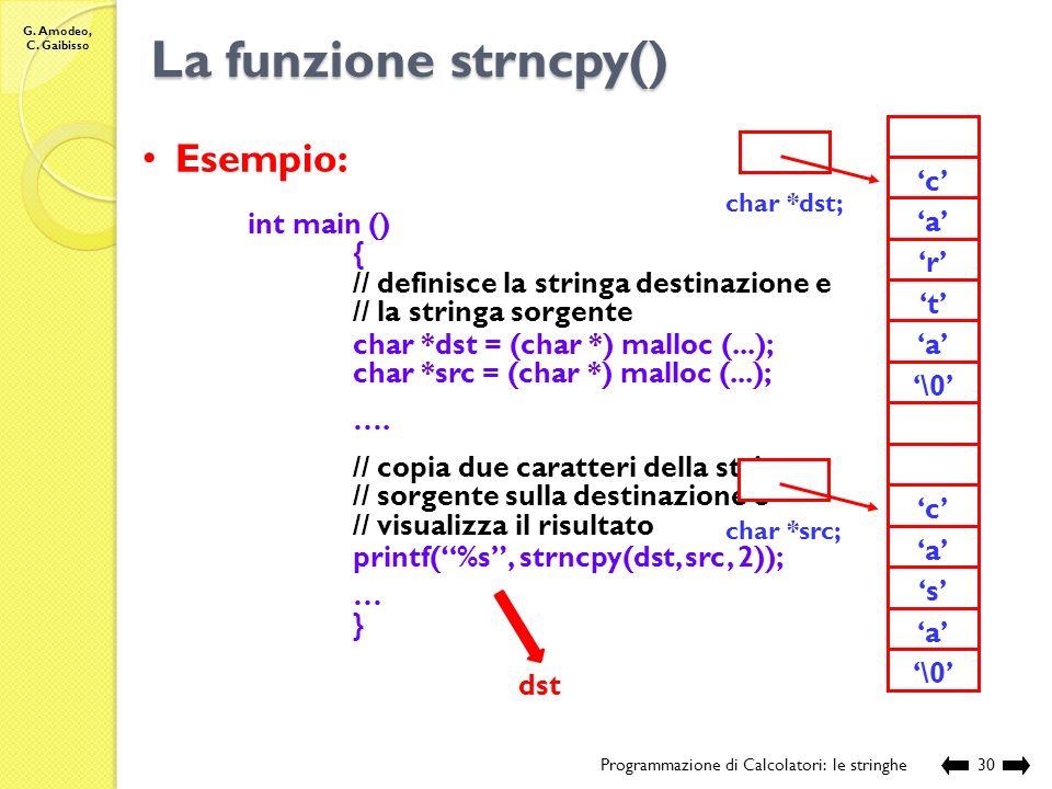 La funzione strncpy() Esempio: 'o' 'r' 't' 'a' '\0' 'c' 's'