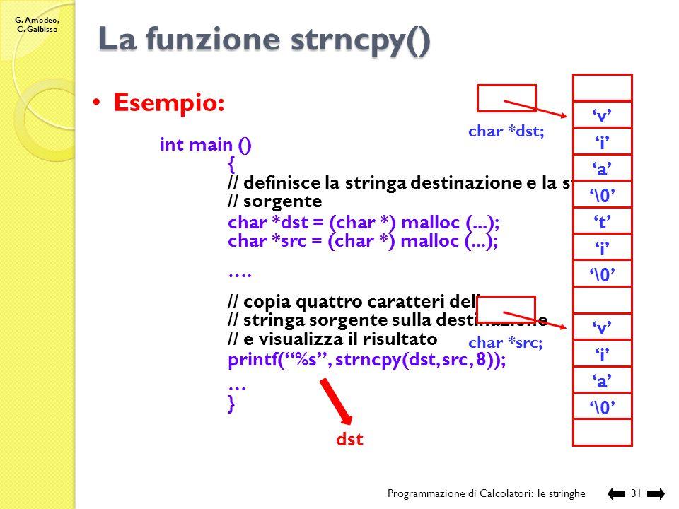 La funzione strncpy() Esempio: 'r' 'o' 'n' 't' 'i' '\0' 'v' 'a' 'p'