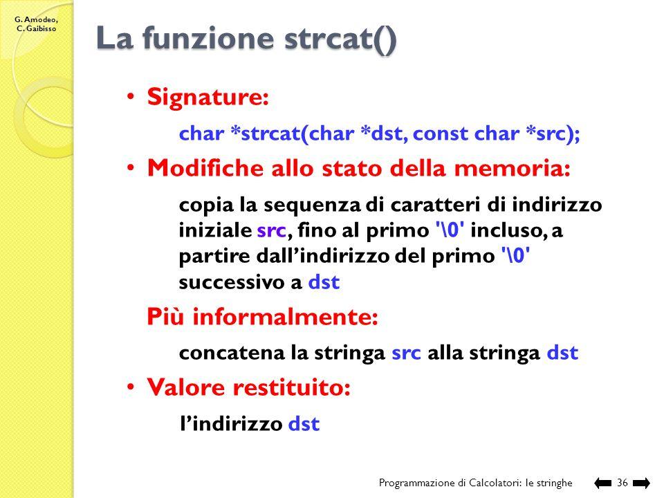 La funzione strcat() Signature: Modifiche allo stato della memoria: