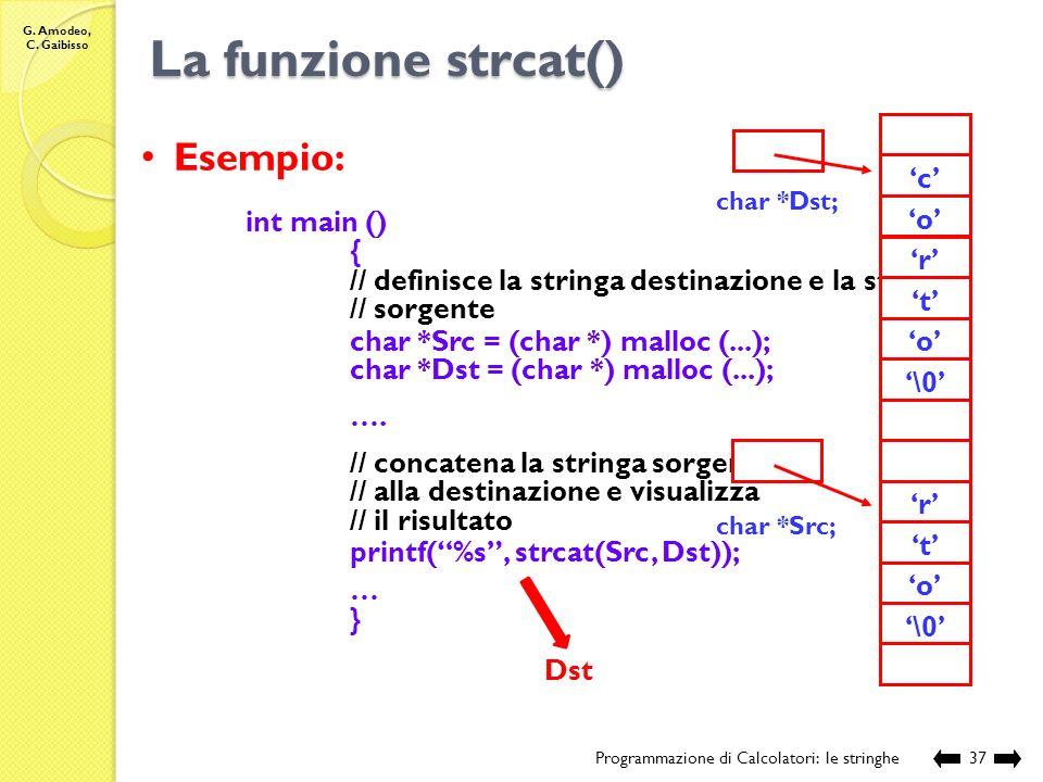 La funzione strcat() Esempio: 'o' '\0' 'r' 't' 'c' int main () {