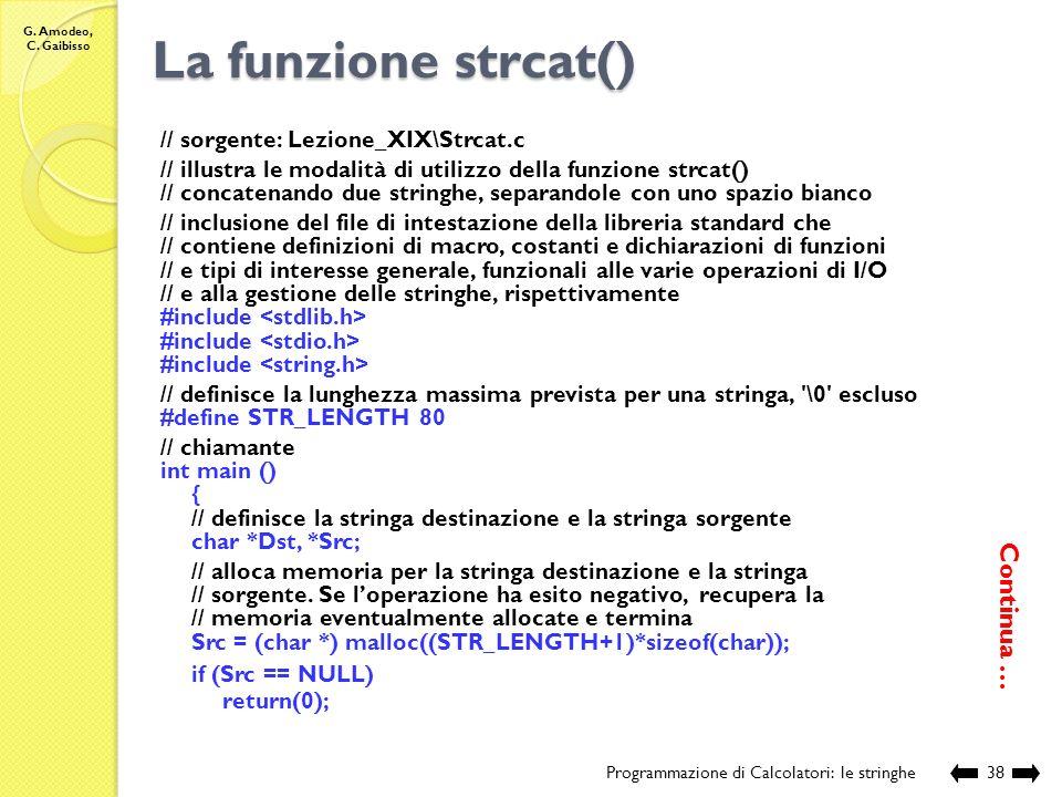 La funzione strcat() Continua … // sorgente: Lezione_XIX\Strcat.c