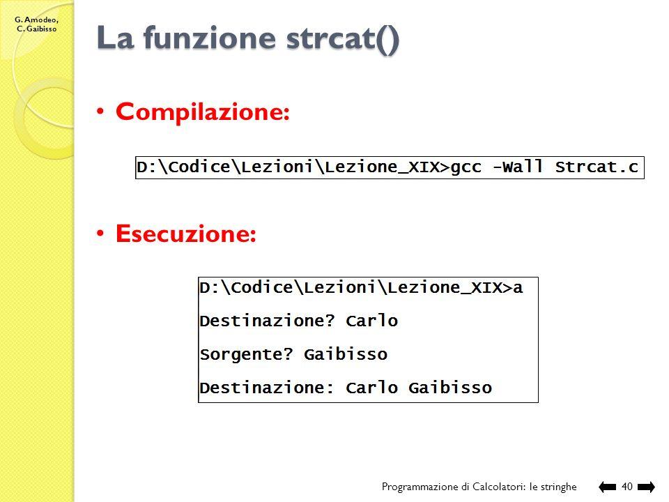 La funzione strcat() Compilazione: Esecuzione: