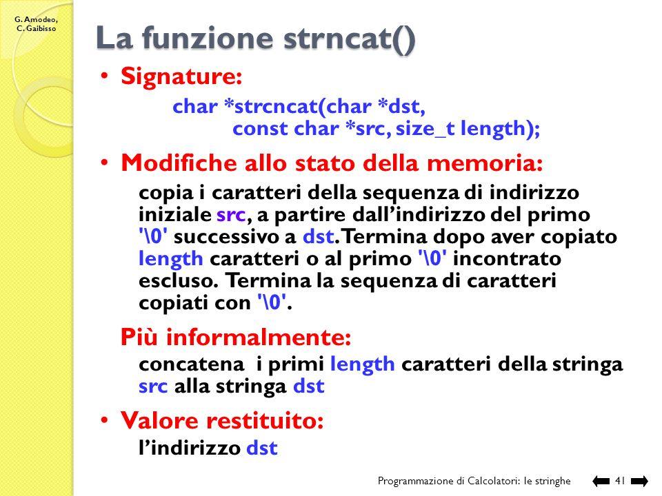 La funzione strncat() Signature: Modifiche allo stato della memoria: