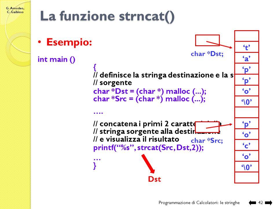 La funzione strncat() Esempio: 'a' 'p' '\0' 'o' 'c' 't' int main () {