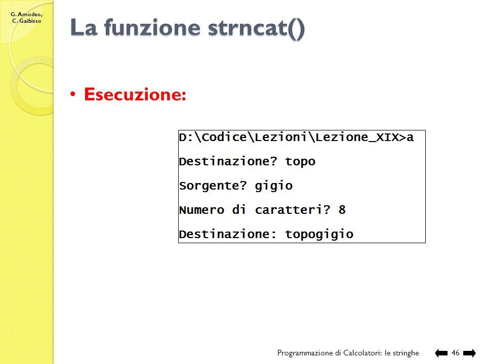 La funzione strncat() Esecuzione: