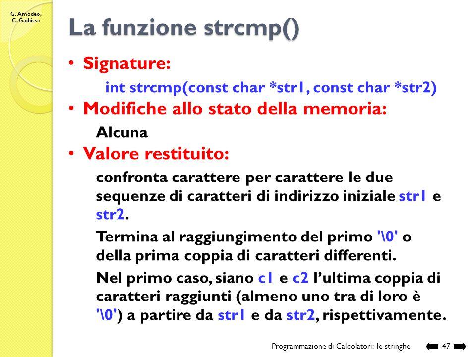 La funzione strcmp() Signature: Modifiche allo stato della memoria: