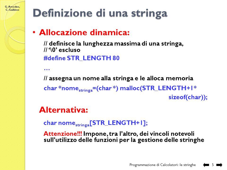 Definizione di una stringa