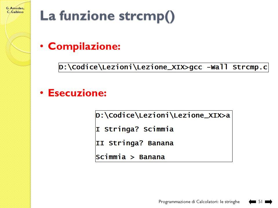 La funzione strcmp() Compilazione: Esecuzione: