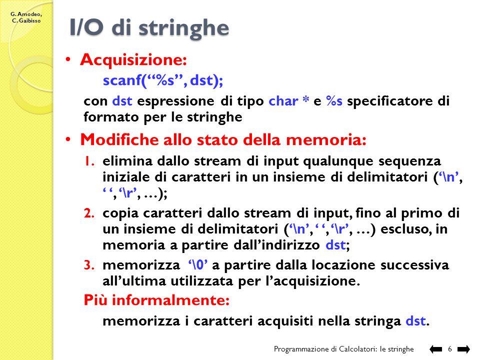 I/O di stringhe Acquisizione: Modifiche allo stato della memoria: