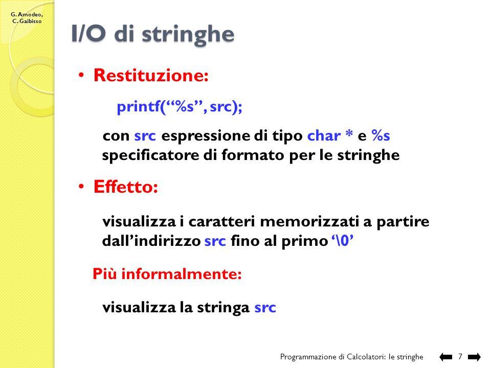 I/O di stringhe Restituzione: Effetto: printf( %s , src);