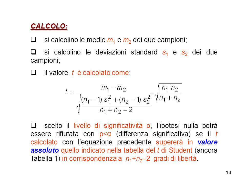 CALCOLO: si calcolino le medie m1 e m2 dei due campioni; si calcolino le deviazioni standard s1 e s2 dei due campioni;