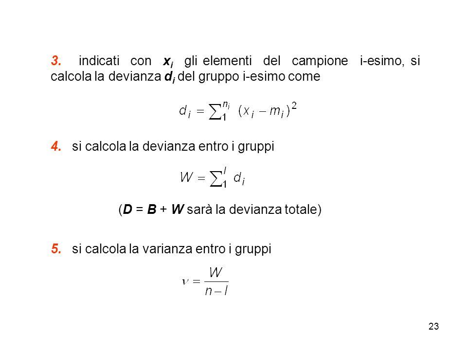 3. indicati con xi gli elementi del campione i-esimo, si calcola la devianza di del gruppo i-esimo come