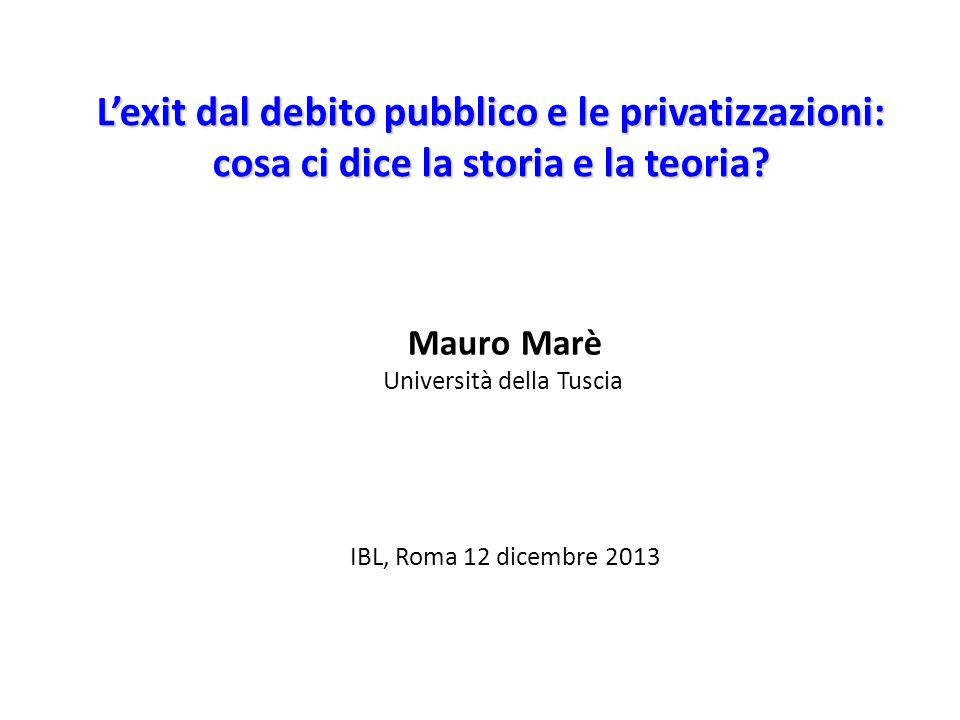 L'exit dal debito pubblico e le privatizzazioni: