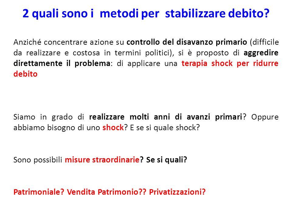 2 quali sono i metodi per stabilizzare debito