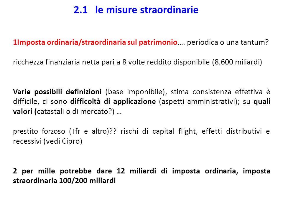 2.1 le misure straordinarie