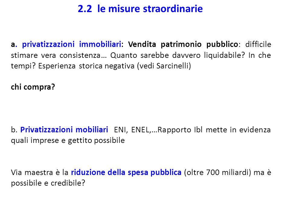 2.2 le misure straordinarie