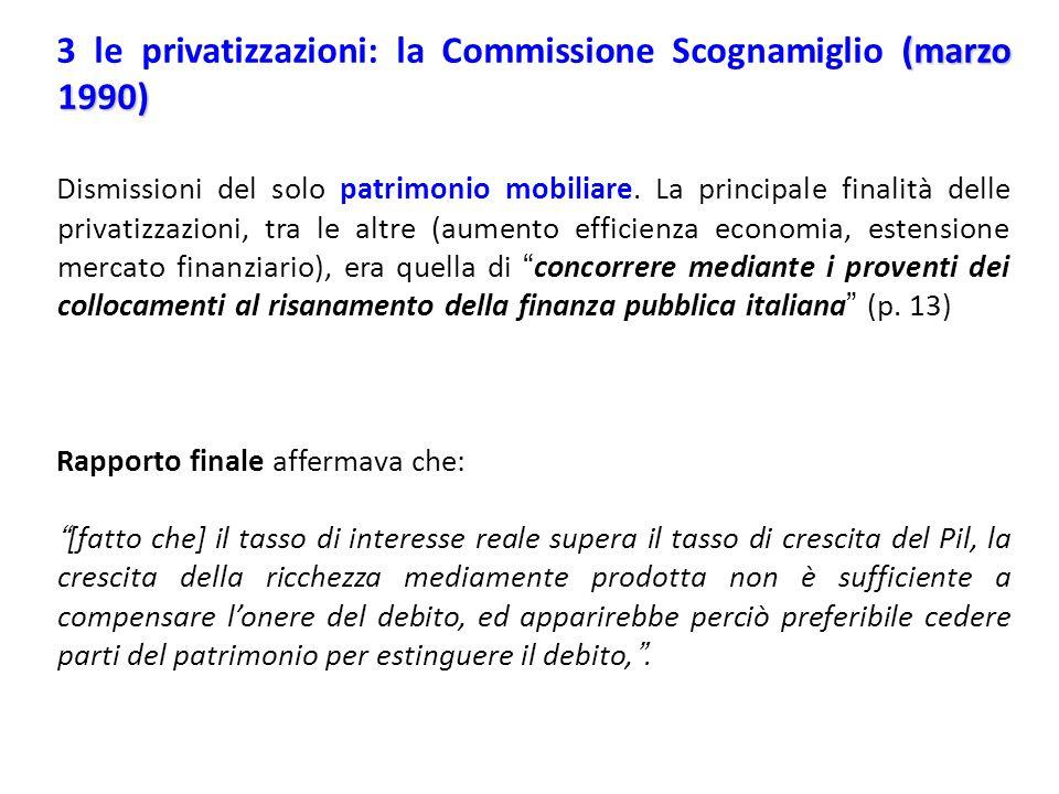 3 le privatizzazioni: la Commissione Scognamiglio (marzo 1990)