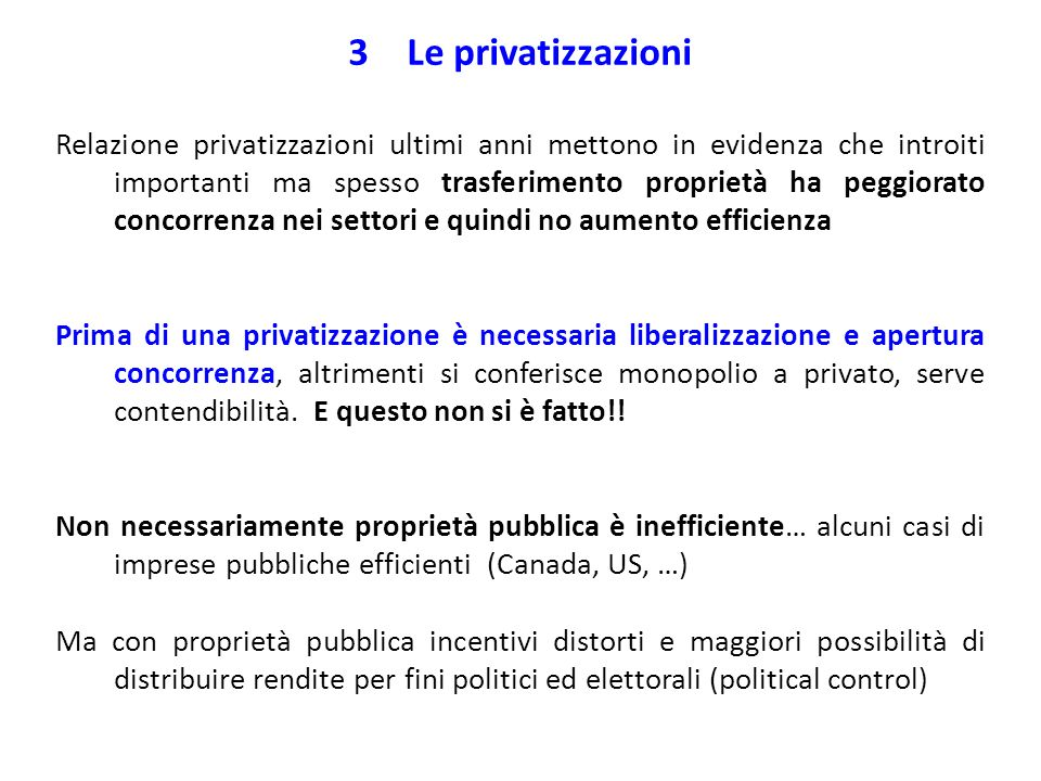 Le privatizzazioni
