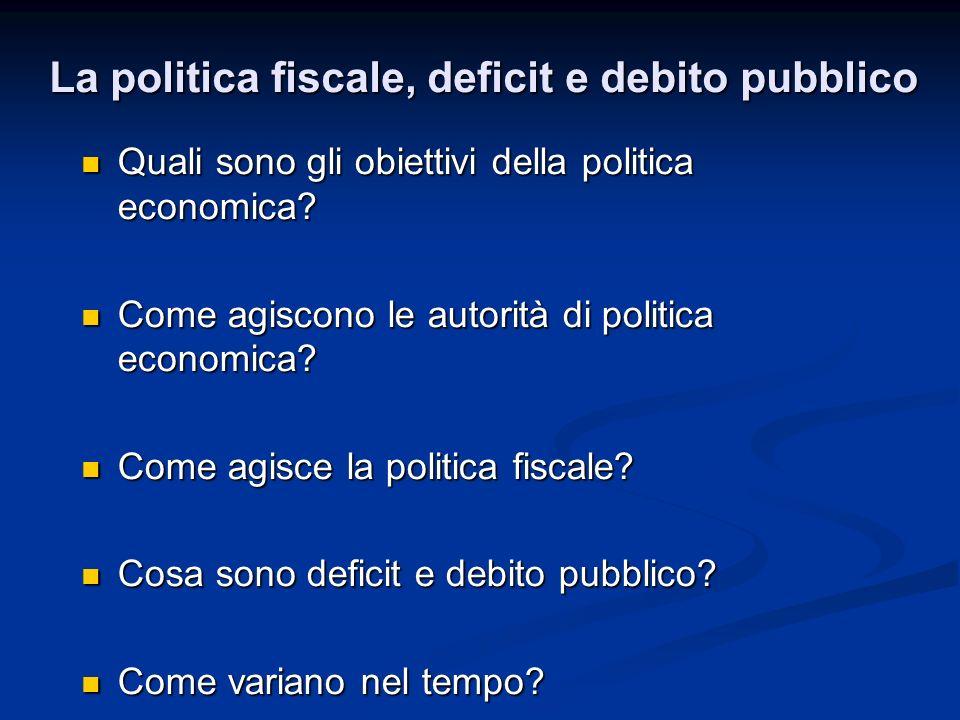 La politica fiscale, deficit e debito pubblico