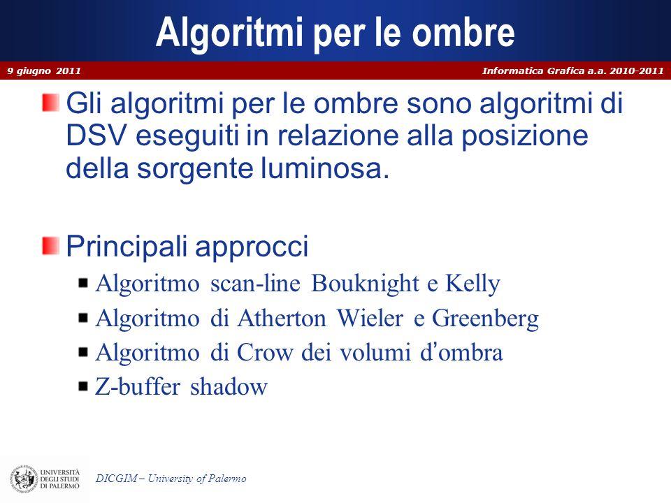Algoritmi per le ombre 9 giugno 2011. Gli algoritmi per le ombre sono algoritmi di DSV eseguiti in relazione alla posizione della sorgente luminosa.