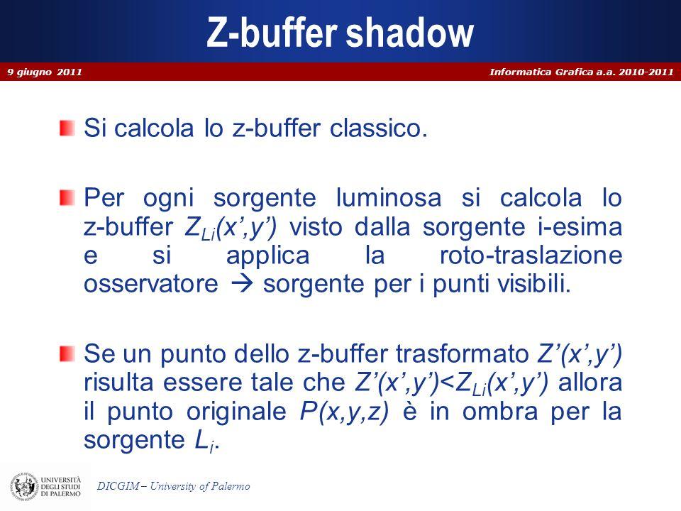Z-buffer shadow Si calcola lo z-buffer classico.