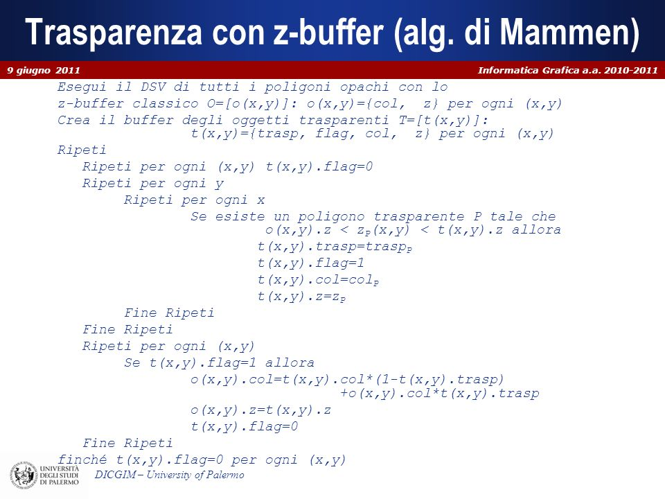 Trasparenza con z-buffer (alg. di Mammen)