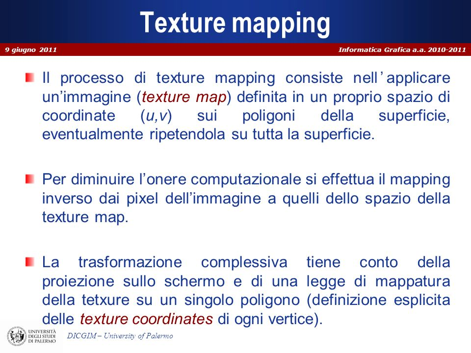 Texture mapping 9 giugno 2011.
