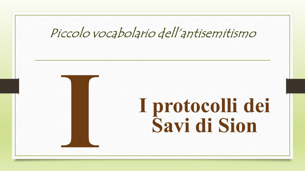 Piccolo vocabolario dell'antisemitismo