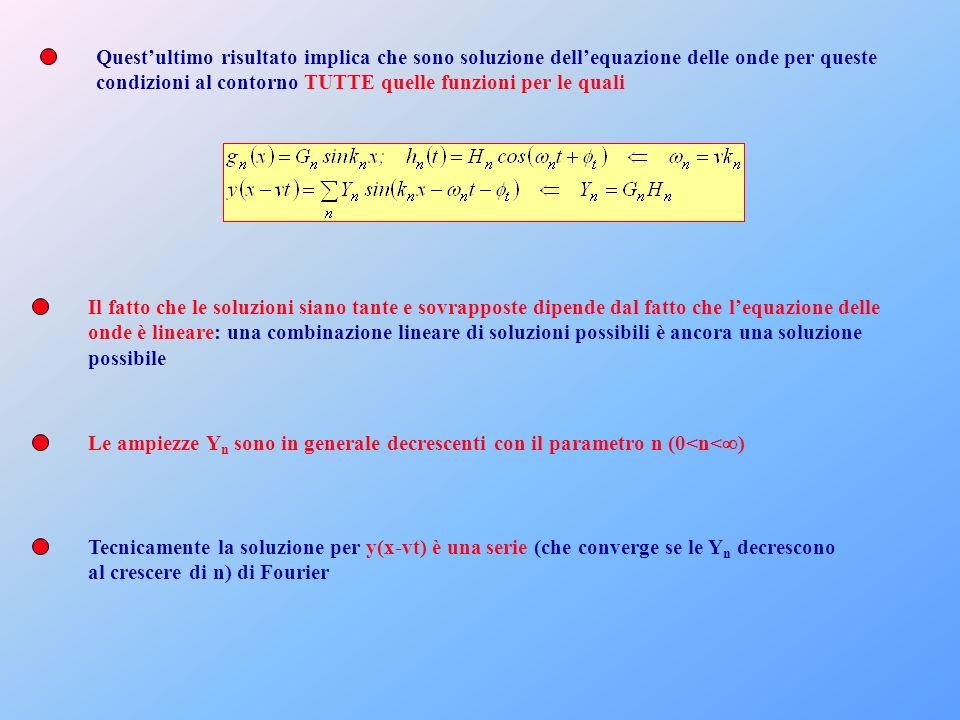 Quest'ultimo risultato implica che sono soluzione dell'equazione delle onde per queste