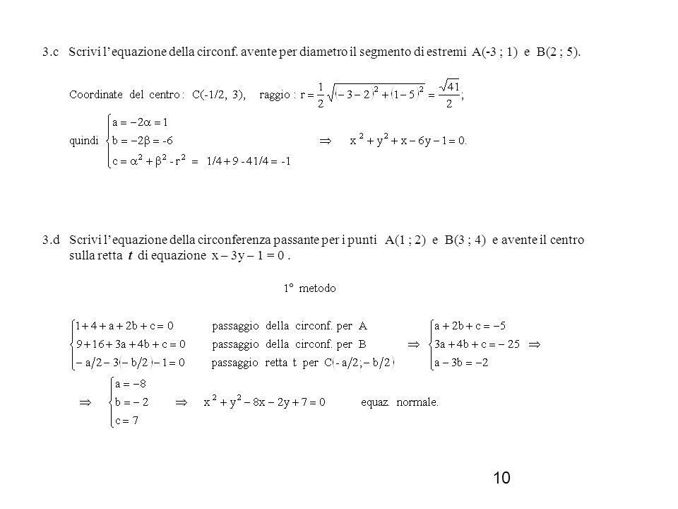 3. c Scrivi l'equazione della circonf