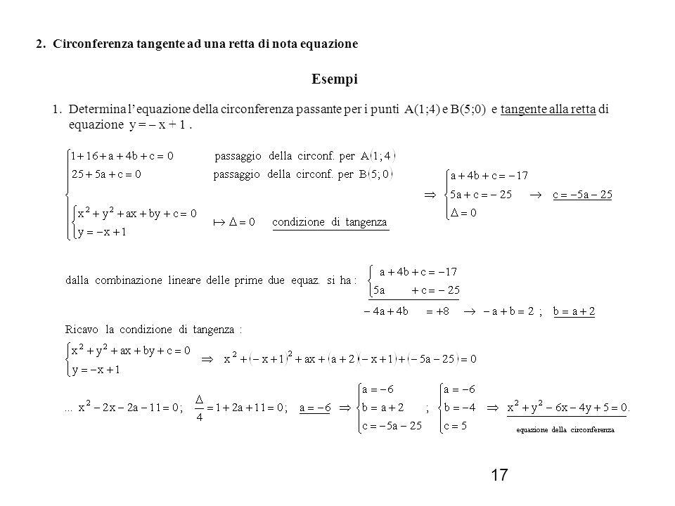 Esempi 2. Circonferenza tangente ad una retta di nota equazione