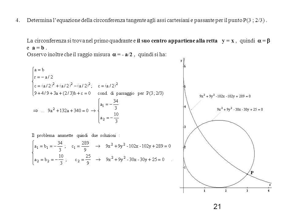 4. Determina l'equazione della circonferenza tangente agli assi cartesiani e passante per il punto P(3 ; 2/3) .
