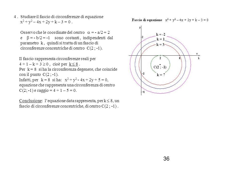 4 . Studiare il fascio di circonferenze di equazione