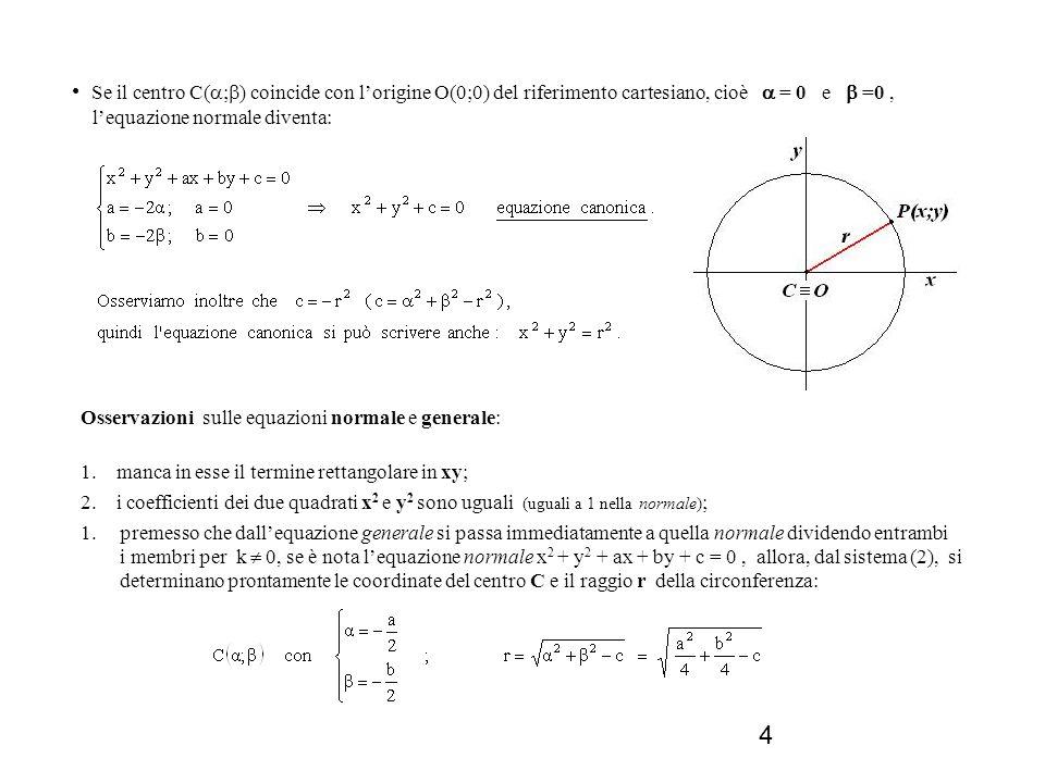 • Se il centro C(;) coincide con l'origine O(0;0) del riferimento cartesiano, cioè  = 0 e  =0 , l'equazione normale diventa: